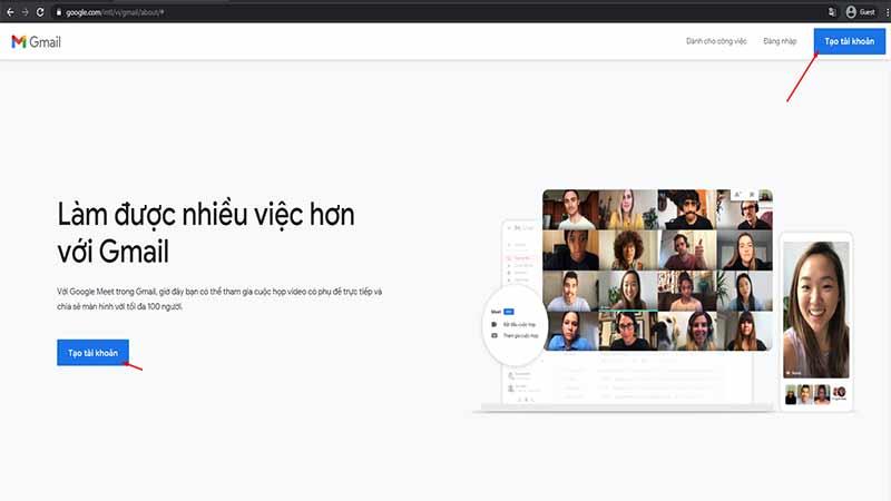 Truy cập trang tạo tài khoản Gmail