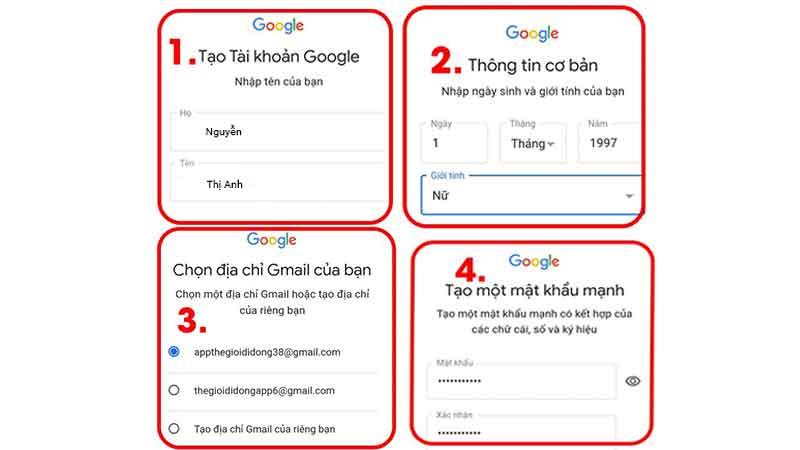 nhập thông tin cá nhân cho tài khoản gmail