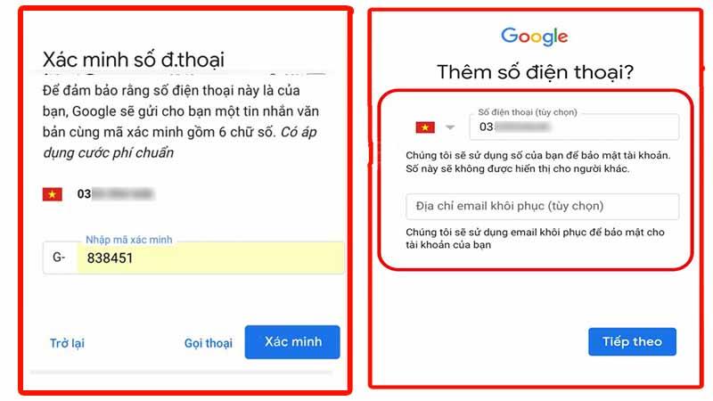 Xác minh và đồng ý các điều khoản của gmail