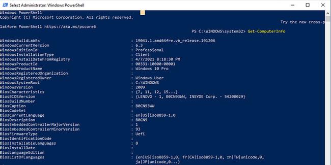 Kiểm tra cấu hình máy tính bằng PowerShell