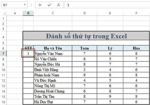 Lỗi đánh số thứ tự trong excel do chức năng đánh số bị lỗi