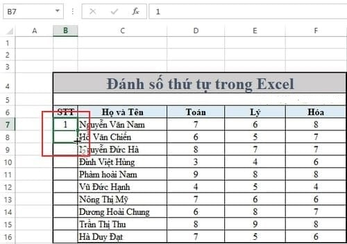 Sửa lỗi đánh số thứ tự trong excel